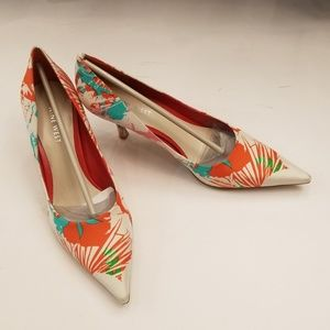 Nine West multi colour shoes, kitty heel